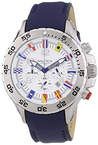 Men's Wrist Watches - Nautica Mens Watch in WhiteBlue Steel form Round line Flag weight 115 grams >>> Click image to review more details. (This is an Amazon affiliate link)
