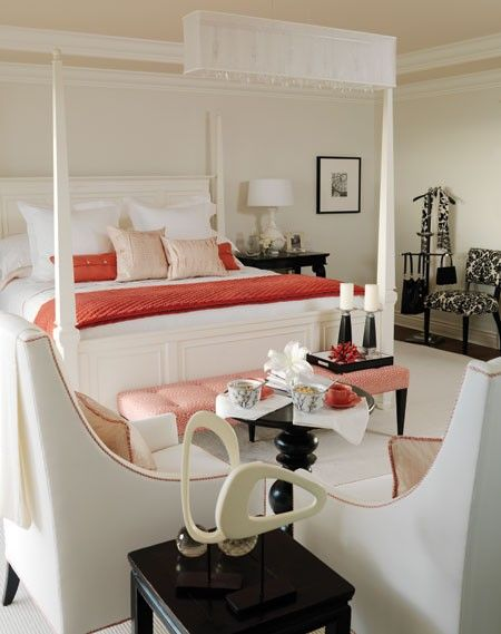 Bold coral pillows and a throw add punch without overwhelming.: Bedrooms Colors, White Beds, Coral Bedrooms, Sarah Richardson Bedrooms, Master Bedrooms, Westcoast, Bedrooms Decor Ideas, Red Accent, Sarah Richardson Design