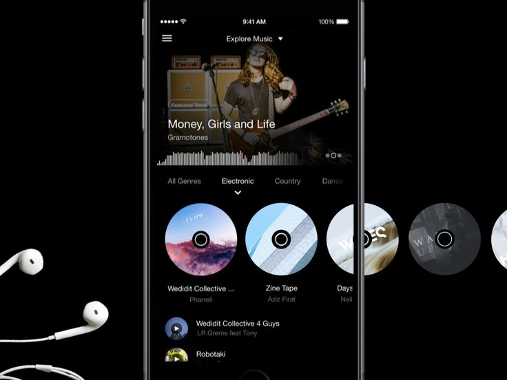 Hi friends, Finally I've some time & permission to share some of my works from 2015. Here is music exploration screen for feels app. At top we have featured content (artist, album, track). B...