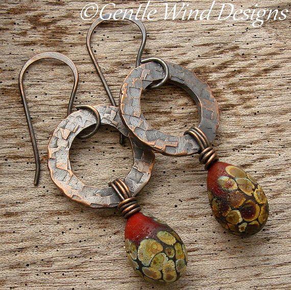SIENNA DANGLES  - Handmade Lampwork beads, Hand Textured Copper Rings by gentlewinddesigns.etsy.com