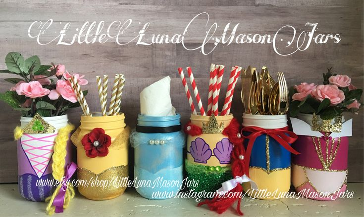 Princess mason jar party, set of 6 princesses , Cinderella , Repunzel, Belle, Snow White, Sleeping beauty and Ariel, birthday centerpiece