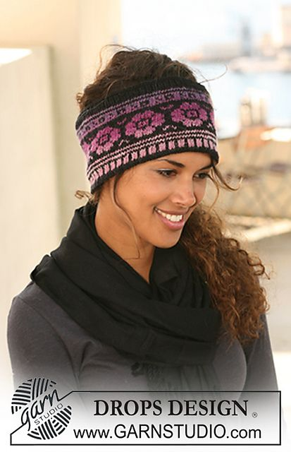 """Ravelry: 126-2 Head band with pattern in """"Delight"""" and """"Fabel"""" pattern by DROPS design"""