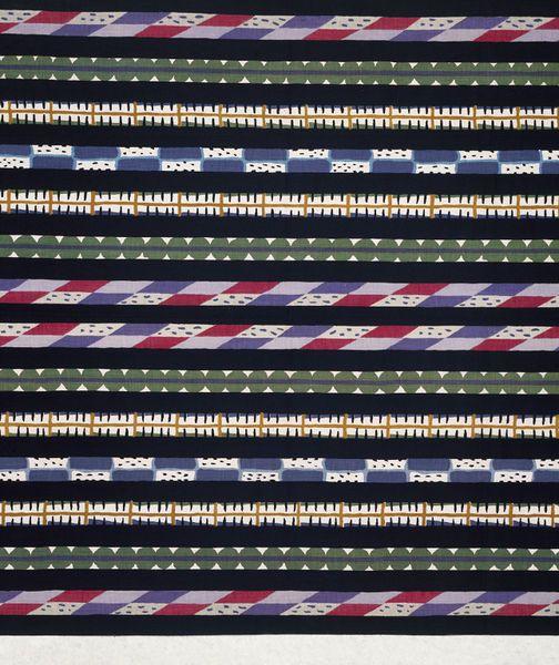 Furnishing fabric designed by Minnie McLeish (1876-195) for William Foxton Ltd. | England, 1921 | Furnishing fabric of roller-printed cretonne in bright pink, light and dark blue, lilac, purple, dark yellow, dark green, black, white and grey, alternating with plain black stripes | VA Museum, London