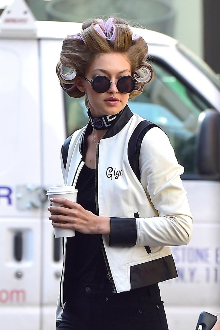 Gigi Hadid in oversize pink rollers.