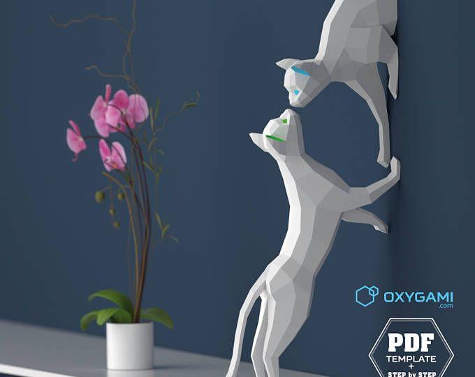 Gatti di papercraft, coppia di gatti (2 modelli PDF), fai da te di carta sculture, basso poligono, Lowpoly gatti, DIY 3D Papercraft, primo regalo di anniversario