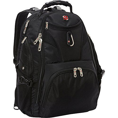 SwissGear Travel Gear 5977 Laptop Backpack- EXCLUSIVE (Black). Logo friendly and perfect for company gifts, events, and promotions. ScanSmart backpack. Padded laptop compartment. Padded iPad/tablet compartment. Water bottle pockets.