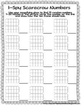 I-Spy Scarecrow Numbers-Differentiated and Aligned to