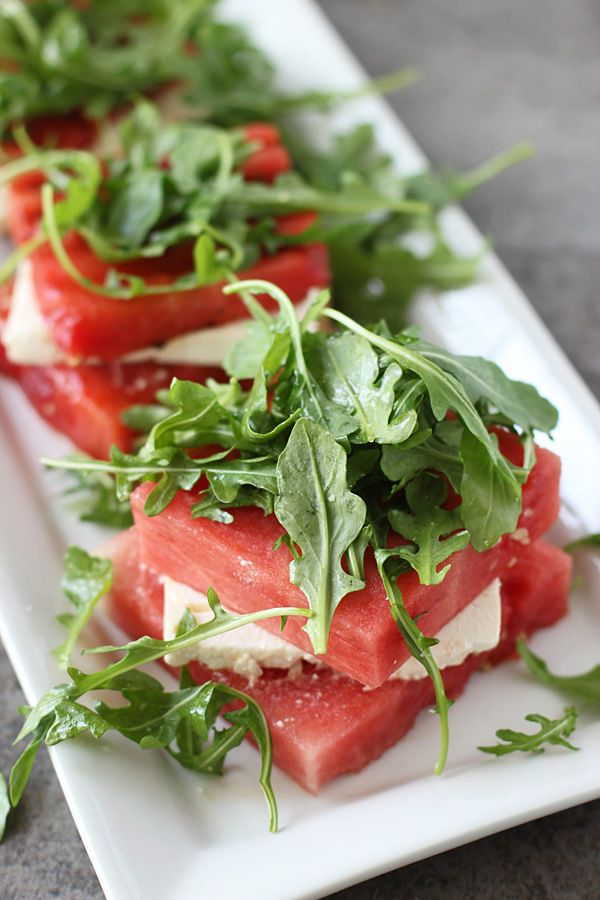 Grilled Watermelon and Feta Stacked Salads | Cooking for Keeps