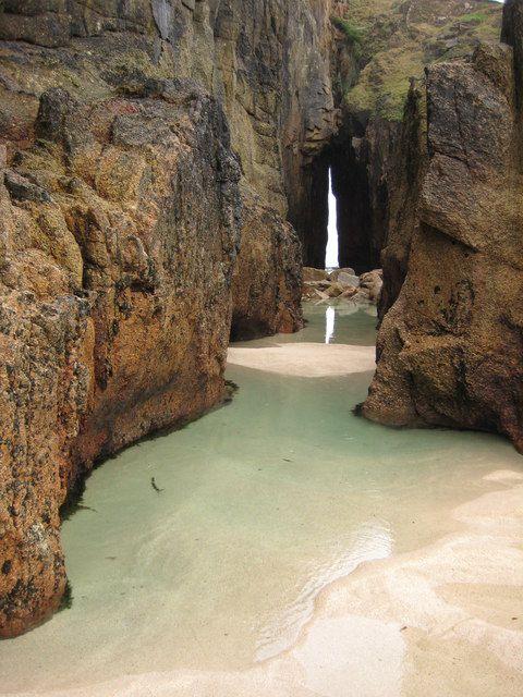 Gap in the cliff, Nanjizal Bay, Cornwall