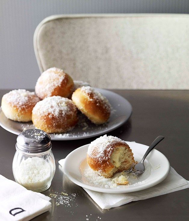 Baked lemon ricotta doughnuts recipe :: Gourmet Traveller #Cheese #Dessert #ModernAustralian #Ricotta #Buttermilk #Winter #Milk #Lemons #Baking
