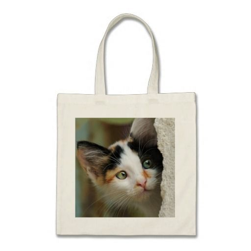 #cute #Kitten peering from behind a wall with prying eyes tote bag  photographed by Katho Menden  #zazzle