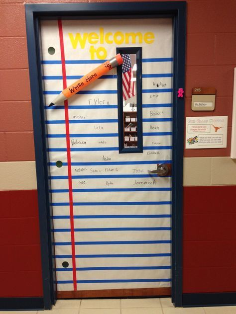 Classroom door idea! Pencil made from pool noodle.