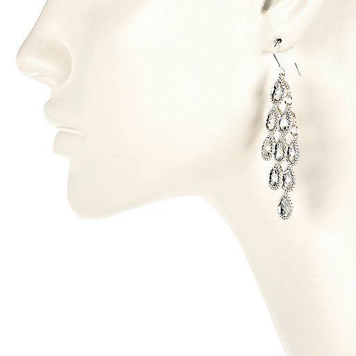 Silver tone crystal dangle earrings - earrings - jewellery - women