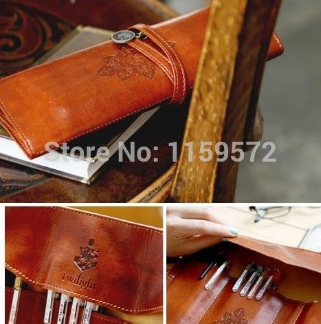 Free shipping retro leather student pen bag, make up bag, student's creative pencil bag,good gift for school opens,drop shipping