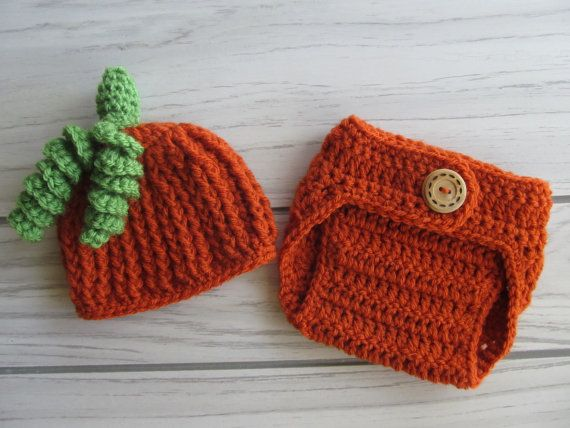 Crochet Baby Pumpkin Hat and Diaper Cover set by crochetjandra, $22.00
