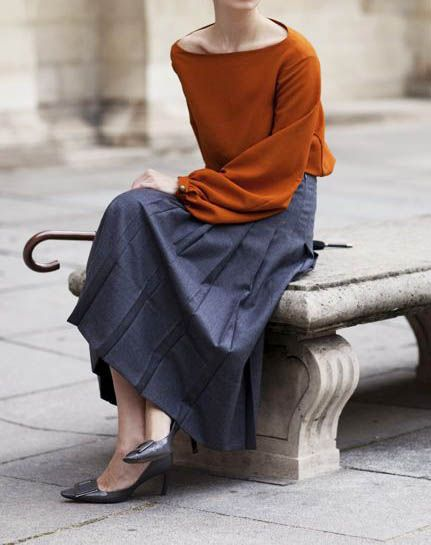 Love the neckline and the color combo the sartorialist                                                                                                                                                     More