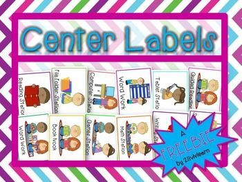 Enjoy these Center Labels for your classroom! 12 different labels included! A FREEBIE brought to you by 2livNlearn!  Follow me for more great products!