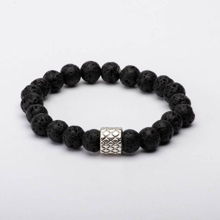Mala Beads Bracelet Black Lava Rock Earth Fire