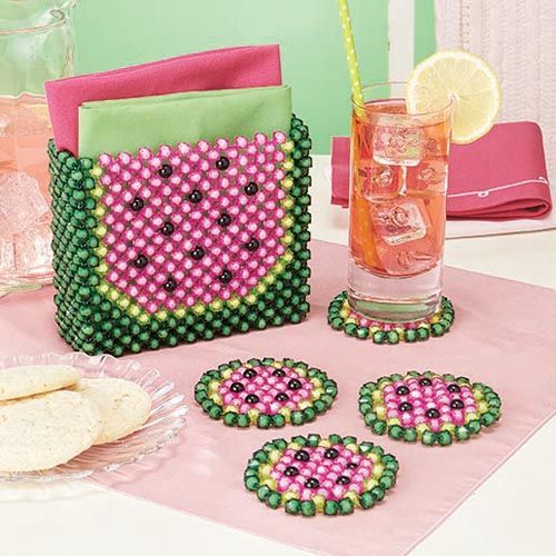 Watermelon Bubble Beads™ Set - Herrschners #coasters #napkin #holder #picnic