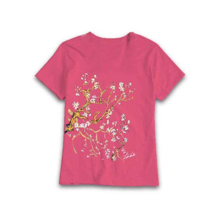 My Almond painting on pink t-shirt #almond #painting #art #lidiaalinanicolae.ro #WearMyArt