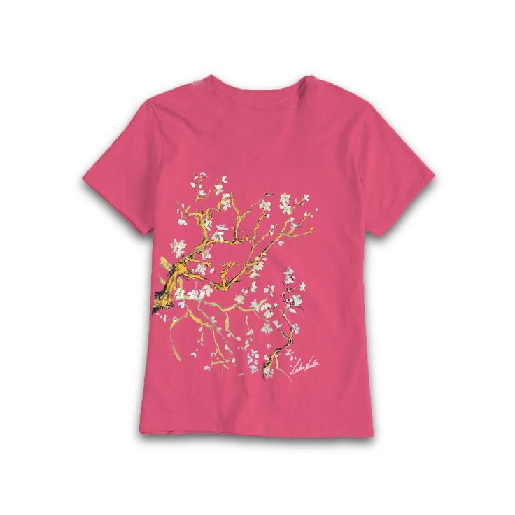 My Almond painting on pink t-shirt #almond #painting #art #lidiaalinanicolae.ro #WearMyArt