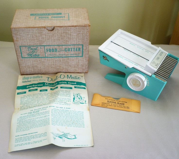 Vintage AQUA Popeil Dial-O-Matic FOOD & VEGGIE CUTTER w/Box & Instructions