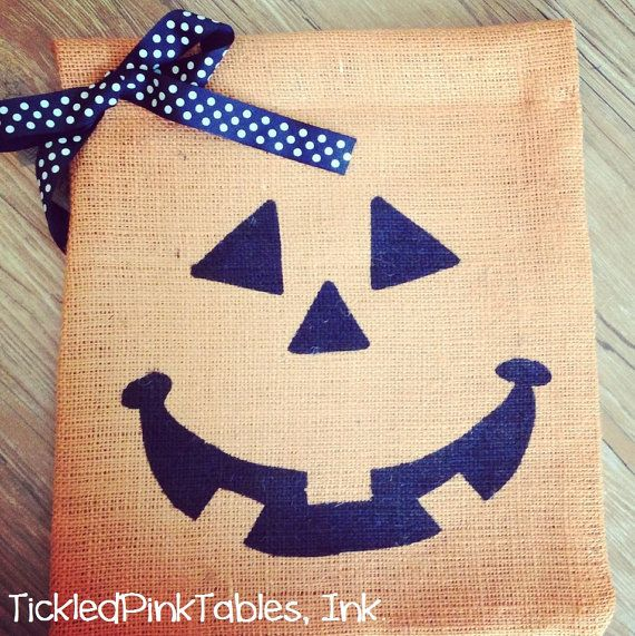Orange Burlap Pumpkin Yard Flag- Halloween Yard Flag