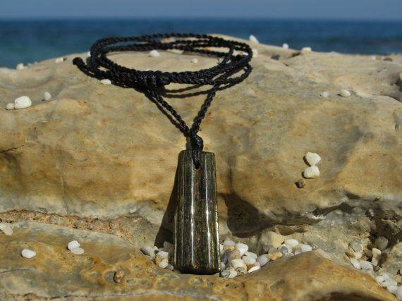 Tourmaline healing stone macrame pendant by MacramEva on Etsy