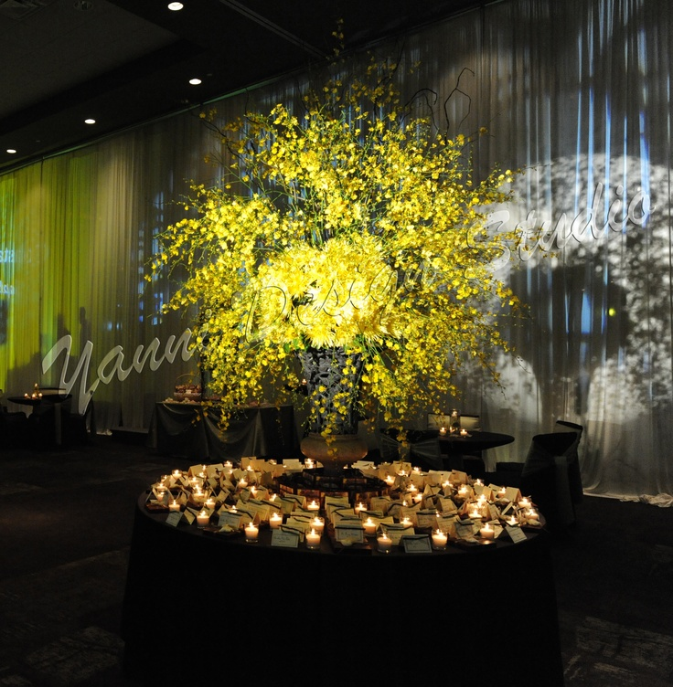 Large floral arrangement of yellow hydrangea and oncidium