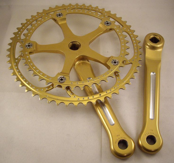 https://flic.kr/p/dSzUzs | Galli Gold Anodized Crankset | Arms re-fluted and rings drilled. Kind of bling-y, yes?