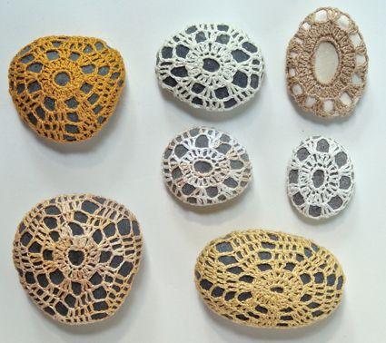 Margaret Oomen's Little Urchin Crochet Covered Sea Stones | The Purl Bee