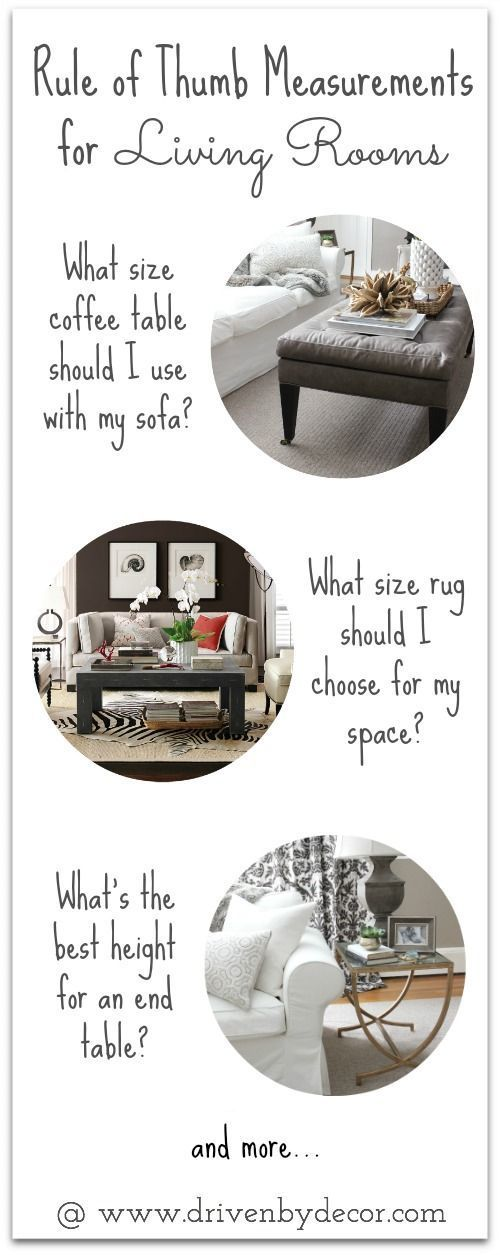 Tips for how to choose the right size end tables, coffee tables, rugs, and more. So helpful in not making mistakes when buying furniture and accessories!