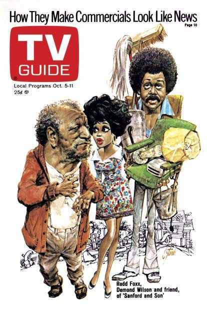 TV Guide October 5, 1974 - Redd Foxx and Demond Wilson of Sanford and Son.  Illustration by Bruce Stark.