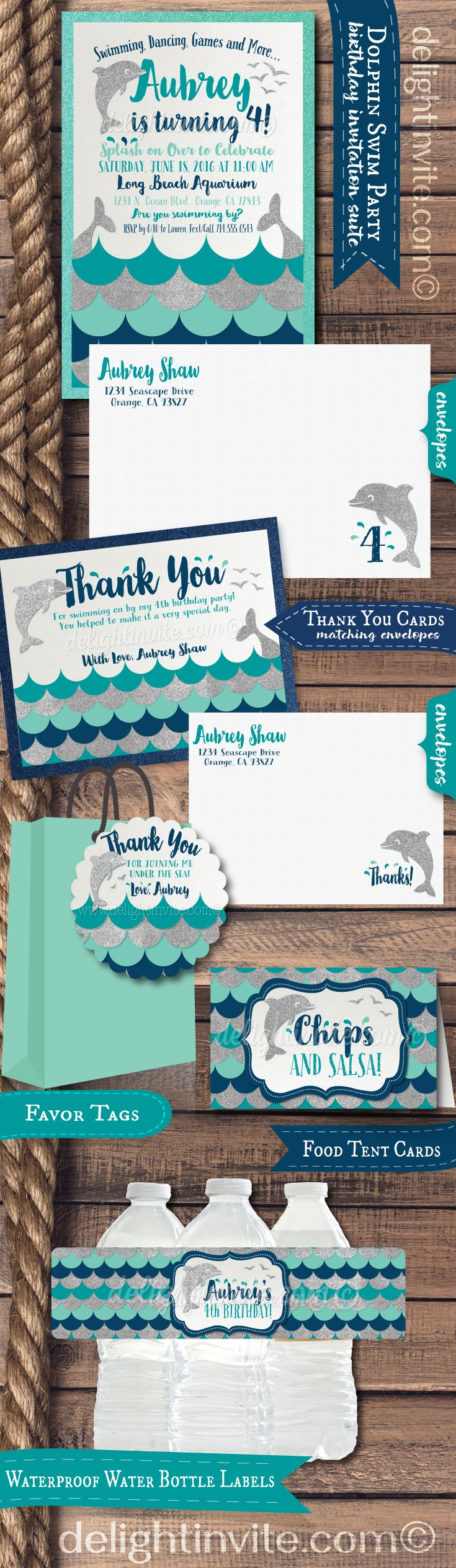 """This darling Dolphin theme birthday party set is perfect if you are planning a swim party or an aquarium theme birthday! Expertly printed on shimmer paper and artfully hand-mounted on metallic aqua blue card stock, these dolphin invitations are stunning in person! The silver glitter elements with the aqua and navy blue color scheme, will make this dolphin inspired party set a HUGE SPASH at your upcoming """"Under the Sea"""" celebration! Check out the matching items too!"""