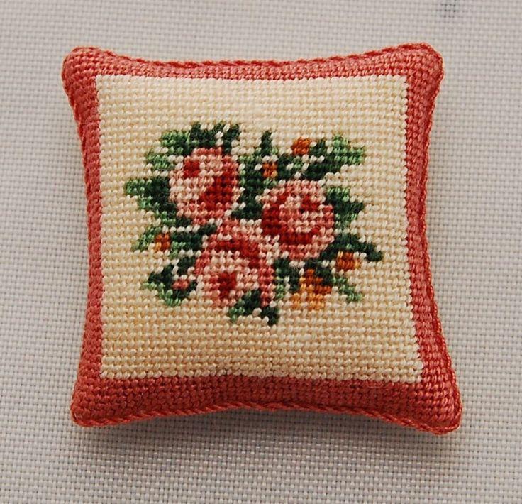 Vtg Dollhouse Miniature Petit Point Pillow French Pink Rose Artisan Needlepoint