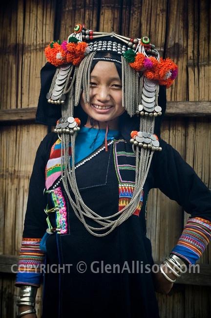 young girl from Phongsali Province, Huay Yueng village Laos