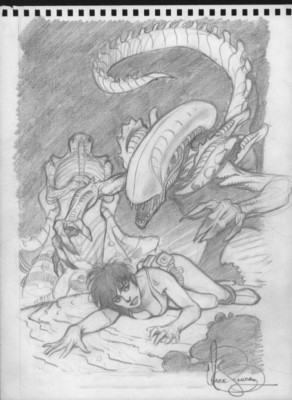 Mark Schultz Aliens Apocalypse The Destroying Angels prelim Comic Art