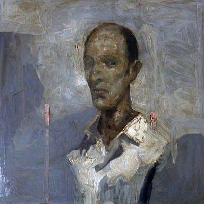 Giuseppe Bombaci - Human (ritratto di Alessandro) - olio su acciaio ramato - 50x50 cm