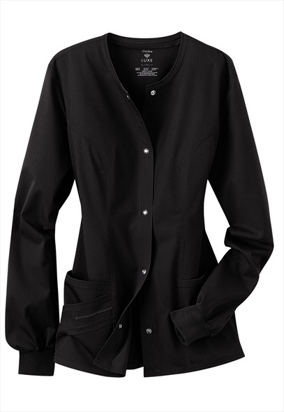 Cherokee Luxe scrub jacket for nurses in a more professional setting