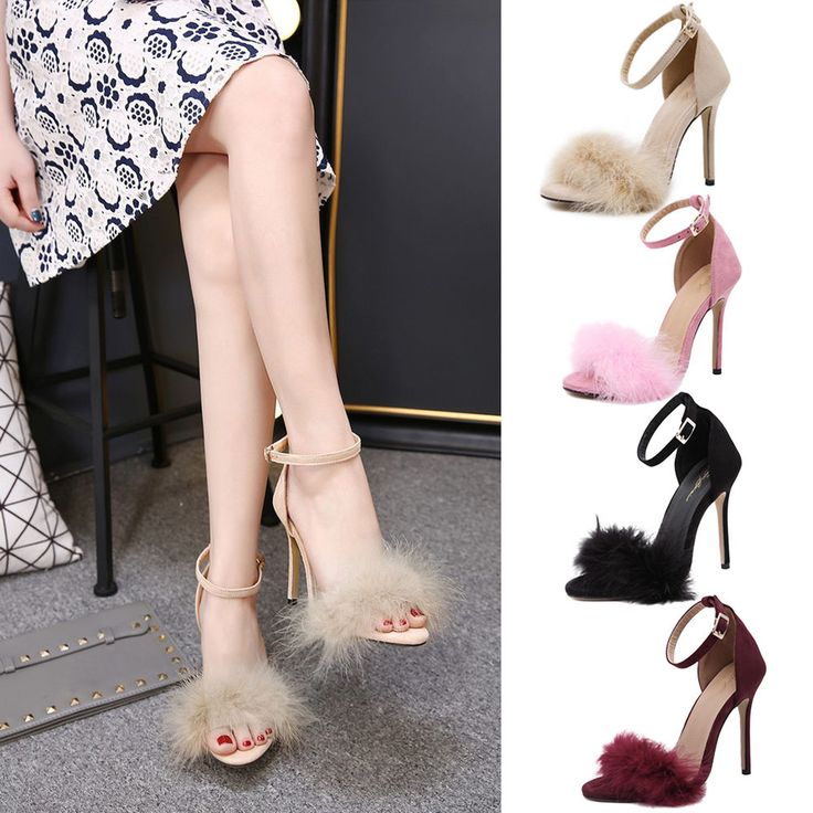 NEW Women Ankle Strap Fur Stiletto Pumps Open Toe Chunky Block High Heels Sandal #Unbranded #Sandals #Party