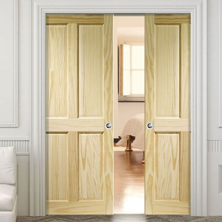 Double Pocket Victorian 4 Panel Pine Door. #pocketdoors #pinepocketdoors #panelledpocketdoors