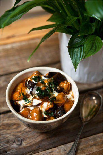 Cremiges Auberginen Curry, mild (vegan)