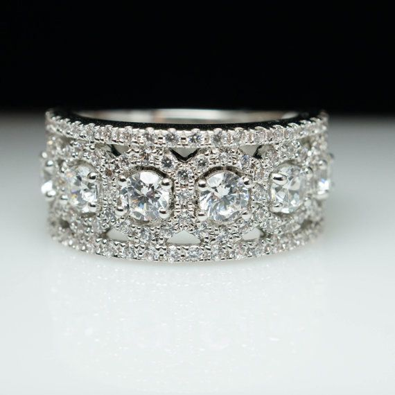 Wide Band Anniversary Band 14k White Gold Natural Diamond Wedding Band Engagement Band Jewelry Vintage Style Intricate Statement Band