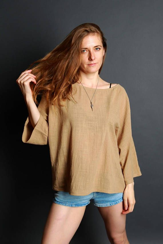 Hemp t-shirt  elegant casual tunic  loose fit top  camel