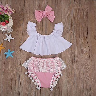 Summer Newborn Baby Girls Outfits Clothes Ruffle Tops+Pink Lace Shorts Headband