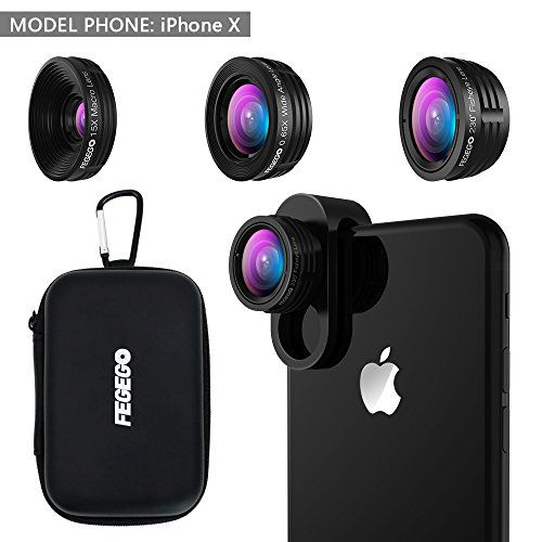 FEGEGO Camera Lens Kit for iPhone X/ 8/ 7Plus/ 7/ 6sPlus, Samsung S8+/ Note8 and other Cellphones (230° Fisheye Lens, 0.65X Super Wide Angle Lens, 15X Super Macro Lens) - Black  https://topcellulardeals.com/product/fegego-camera-lens-kit-for-iphone-x-8-7plus-7-6splus-samsung-s8-note8-and-other-cellphones-230-fisheye-lens-0-65x-super-wide-angle-lens-15x-super-macro-lens-black/  3 IN 1 DETACHABLE LENS: 0.65x Super wide Angle Lens + Update 15x MACRO Lens + 230 degree fisheye le