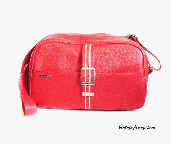 Vintage Sporty Red Vinyl Samsonite Carry On Luggage Tote Shoulder Bag