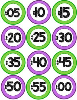 Classroom Decor Clock Labels - Purple & Green FREEBIE