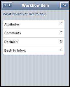 Screenshot de ejemplo con las opciones de procesos desde un dispositivo móvil en SAP Workflow construido con la mobile enterprise application platform Movilizer.