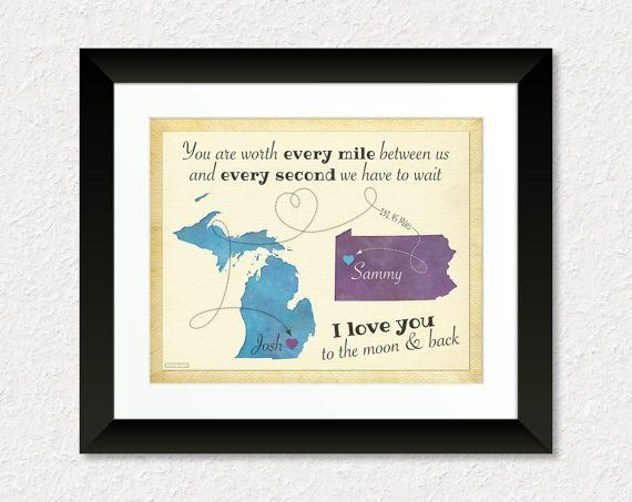 Long Distance Present for Boyfriend Girlfriend Anniversary Gift Going Away Gift I Love you to the Moon and Back Quote Custom Map Print #Annivers